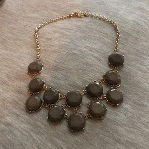 Dark grey statement necklace.